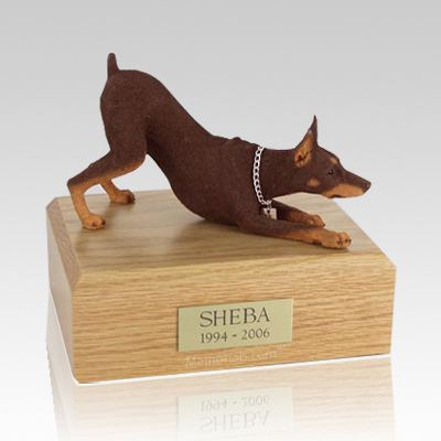 Doberman Red Stretching Dog Urns