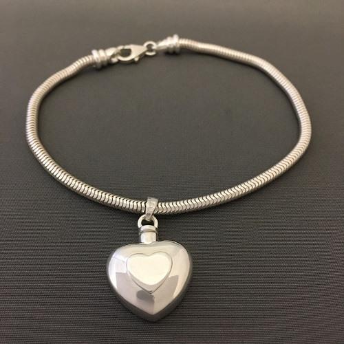 Double Heart Cremation Bracelet