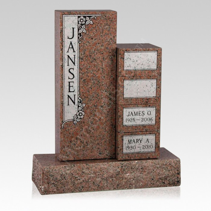 Family Upright Cremation Headstone