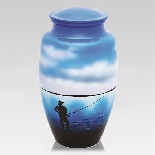 Fisherman Metal Cremation Urn