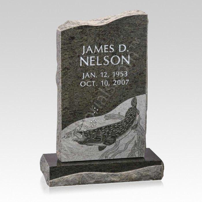 Fishing Upright Cemetery Headstone