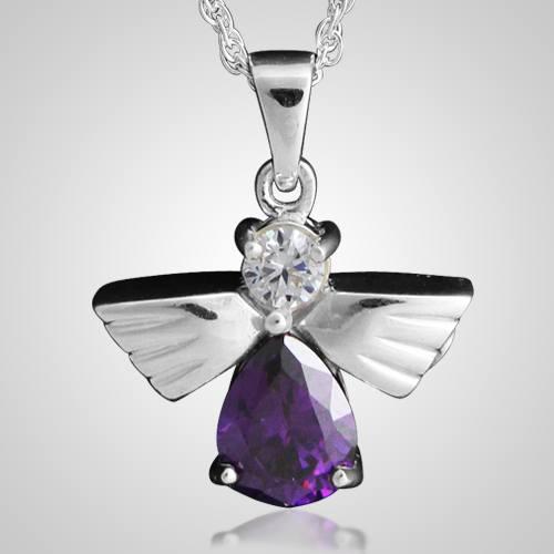 Flying Angel Amethyst Cremation Pendant