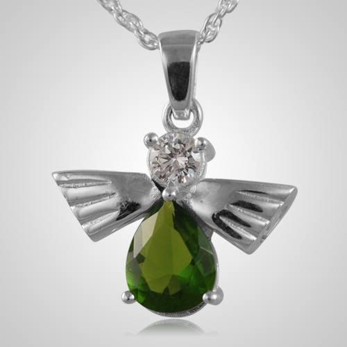 Flying Angel Emerald Cremation Pendant
