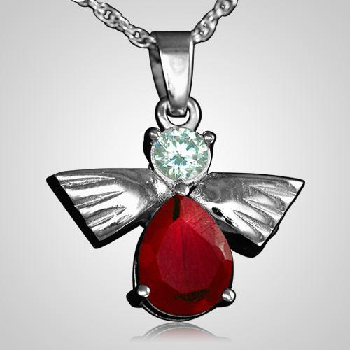 Flying Angel Ruby Cremation Pendant III