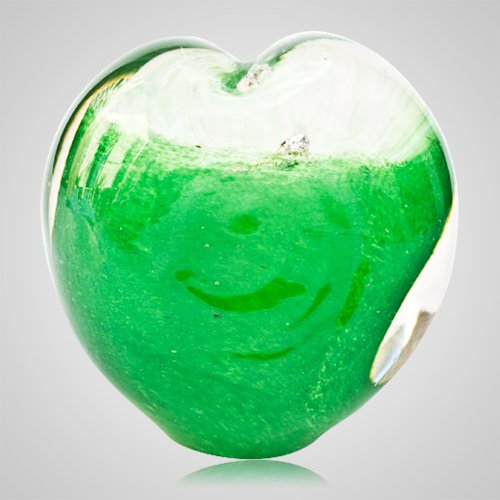 Forever Green Cremation Ash Glass Heart