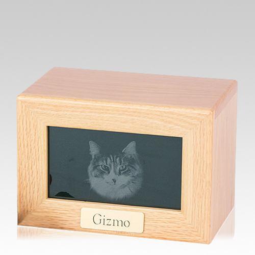 Framed Oak Marble Photo Pet Urn