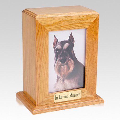 Framed Oak Vertical Photo Pet Urns
