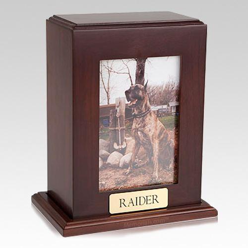 Framed Walnut Vertical Photo Pet Urns