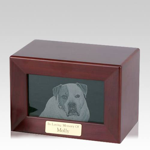 Framed Walnut Marble Photo Pet Urn