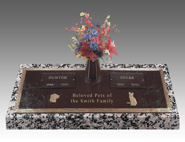 Pet Cremation Headstone with a Vase