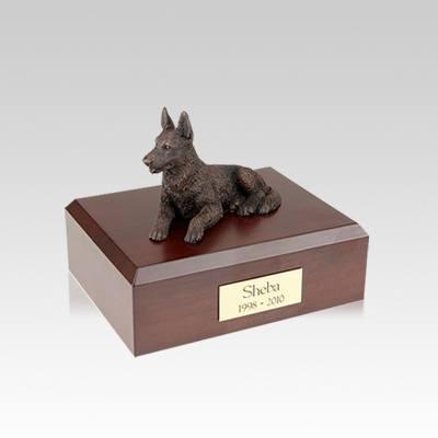 German Shepherd Bronze Small Dog Urn