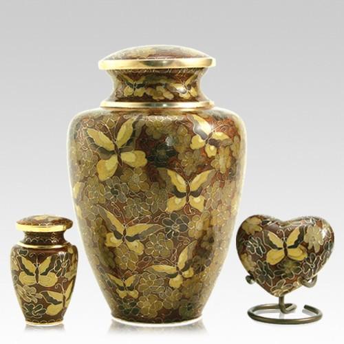 Gilded Butterflies Cloisonne Cremation Urns