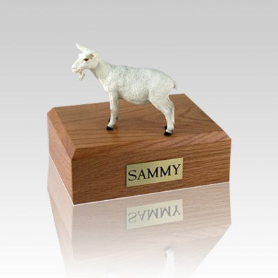 Goat White Small Cremation Urn