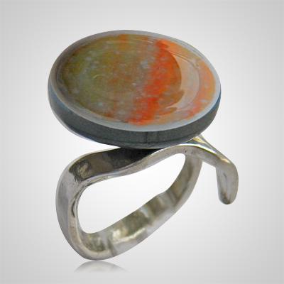 Gold Orange Memorial Ashes Ring