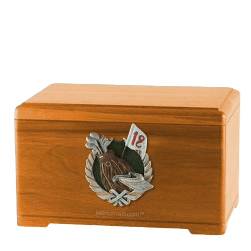 Golfer Oak Cremation Urn