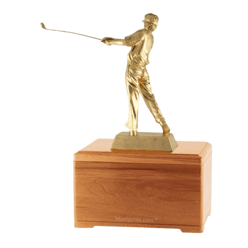 Golfing Fan Oak Cremation Urn