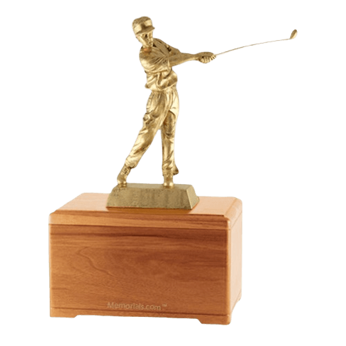 Golfing Fan Oak Cremation Urn