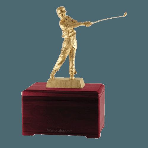 Golfing Fan Rosewood Cremation Urn