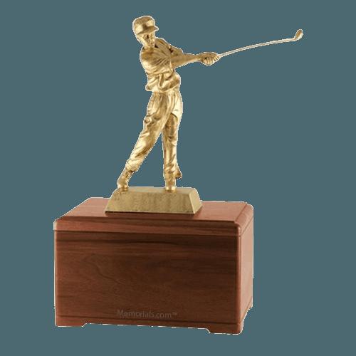 Golfing Fan Walnut Cremation Urn