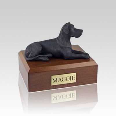 Great Dane Black Ears Down Small Dog Urn