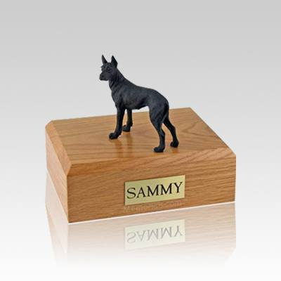 Great Dane Black Standing Small Dog Urn