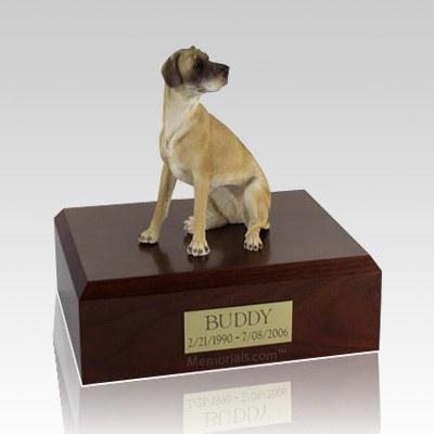 Great Dane Fawn Ears Down Sitting Large Dog Urn