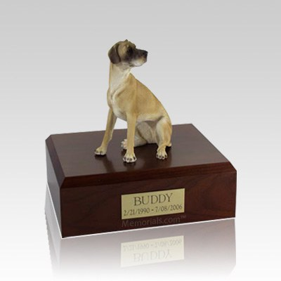 Great Dane Fawn Ears Down Sitting Small Dog Urn