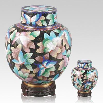 Emperor Butterflies Cloisonne Cremation Urns