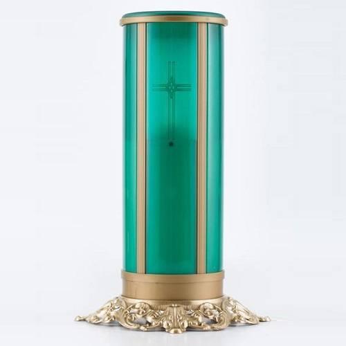 Green Cross Filigree Memorial Candle