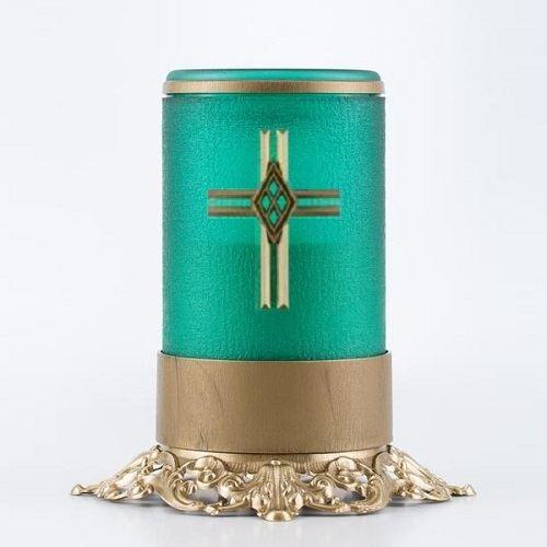 Green Cross Ornate Memorial Candle