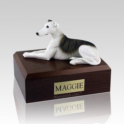 Greyhound White & Brindle Dog Urns