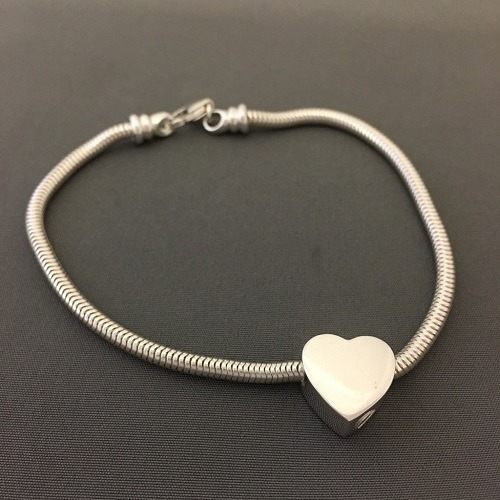 Slider Heart Cremation Bracelet