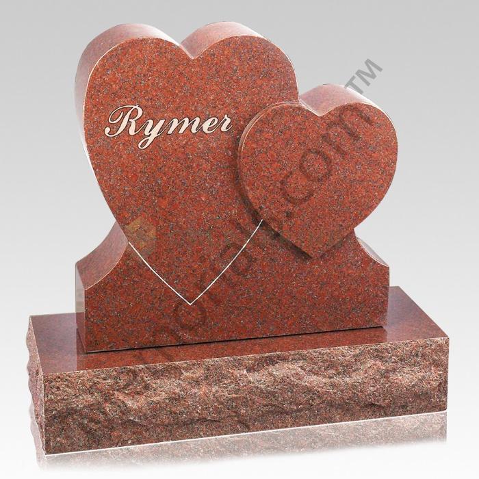 Heart on Heart Companion Granite Headstone