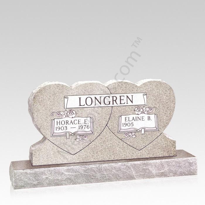 Hearts Upright Cemetery Headstone