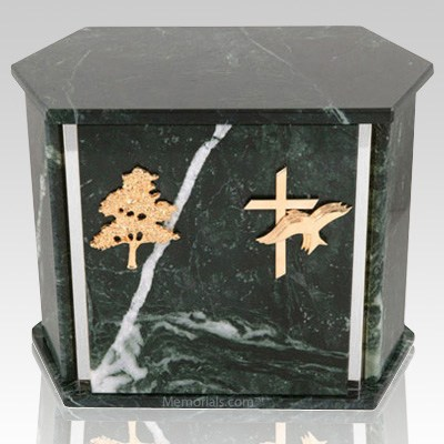 Hexagon Silver Blue Tone Granite Companion Urn