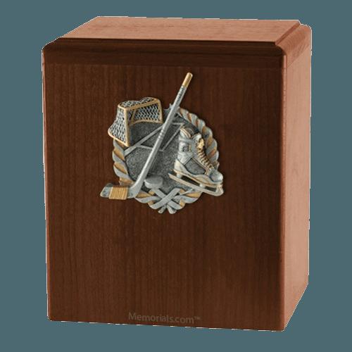 Hockey Fan Walnut Cremation Urn