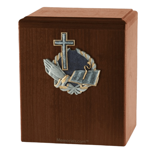 Praying Cross Walnut Cremation Urn