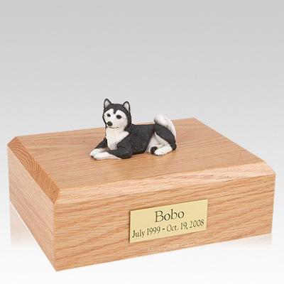 Husky Black Resting Dog Urns