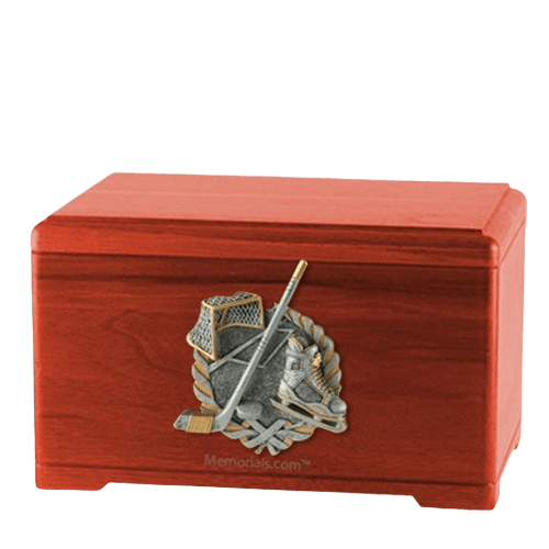 Ice Hockey Cherry Cremation Urn