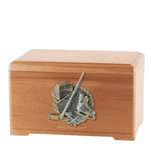 Ice Hockey Light Cherry Cremation Urn