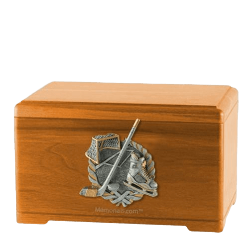 Ice Hockey Oak Cremation Urn