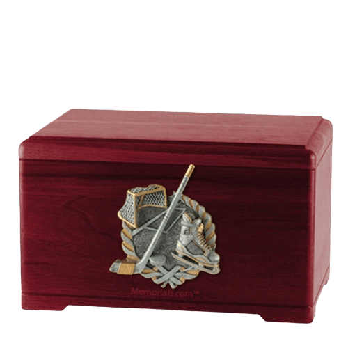 Ice Hockey Rosewood Cremation Urn