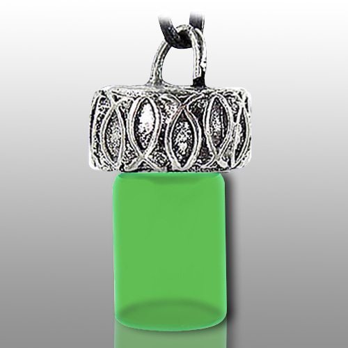 Ichthys fish green pet necklace urn for Fish urn necklace