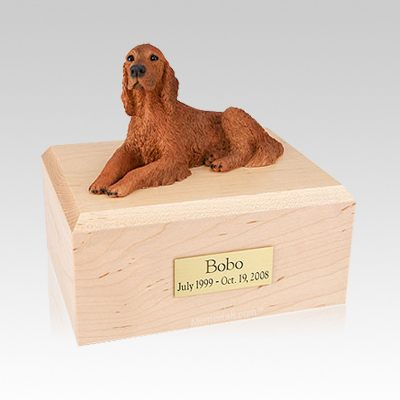 Irish Setter Laying Medium Dog Urn