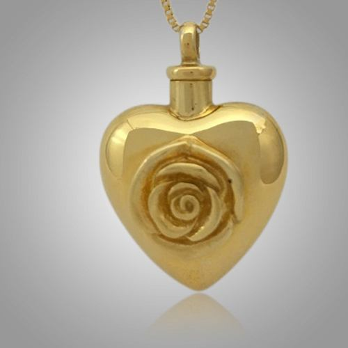 Large Pet Rose Heart Cremation Pendant II