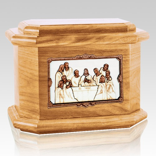 Last Supper Oak Octagon Cremation Urn