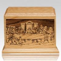 Last Supper Walnut Wood Urn