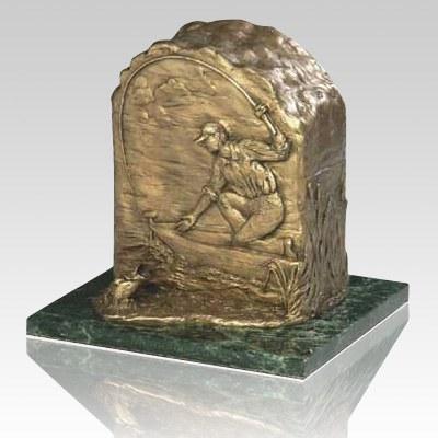 Fishing Bronze Cremation Urn