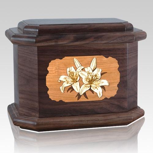 Lily Walnut Octagon Cremation Urn