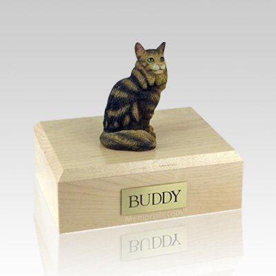 Maine Coon Brown Tabby Medium Cat Cremation Urn